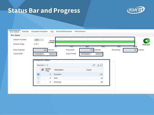 Purge-it! Version 5 Status Bar and Progress Bar. Each tab is designed to provide insightful information on the status of the archiving activity.